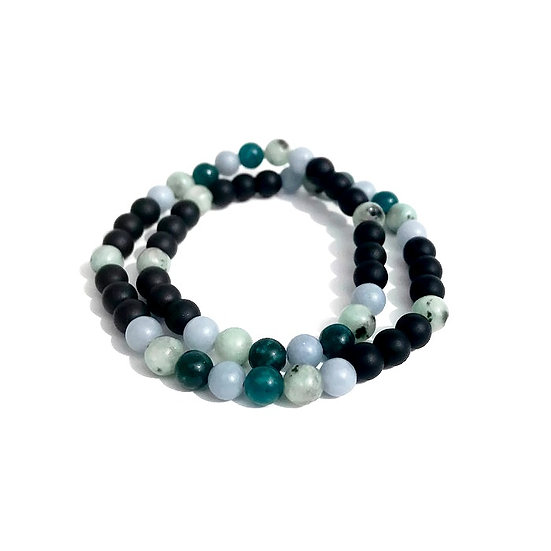 Men's Apatite, Kiwi Jasper, Angelite and Matte Onyx Double Wrap Bracelet