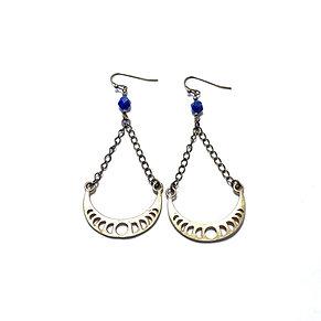 Lapis Lazuli Moon Phase Earrings