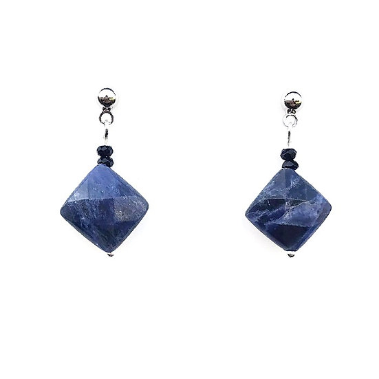 Sodalite and Black Spinel Drop Earrings