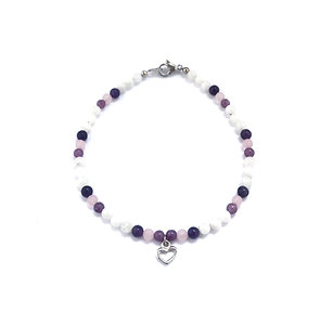 Lepidolite, Rose Quartz and Rainbow Moonstone Anklet with Heart Charm