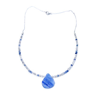 Faceted Iolite and Labradorite Beaded Necklace with Rough Kyanite Pendant
