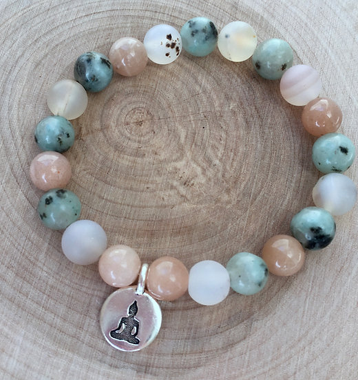 Sunstone, Kiwi Jasper and Montana Agate Bracelet with Buddha Charm