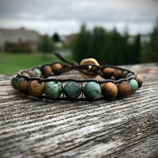 African Turquoise and Matte Tigers Eye Leather Wrap Bracelet
