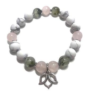 Prehnite, Rose Quartz and Howlite Bracelet with Lotus Charm