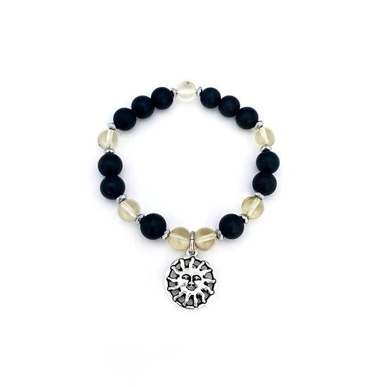 Lemon Quartz, Onyx and Hematite Bracelet with Sun Charm