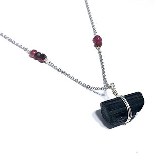 Faceted Pink Tourmaline with wire wrapped Black Tourmaline Pendant