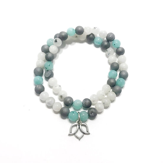 Amazonite, Silver Druzy Agate and Rainbow Moonstone Double Wrap Bracelet