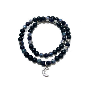 Blue Goldstone, Mystic Norwegian Moonstone and Black Onyx with Moon Charm