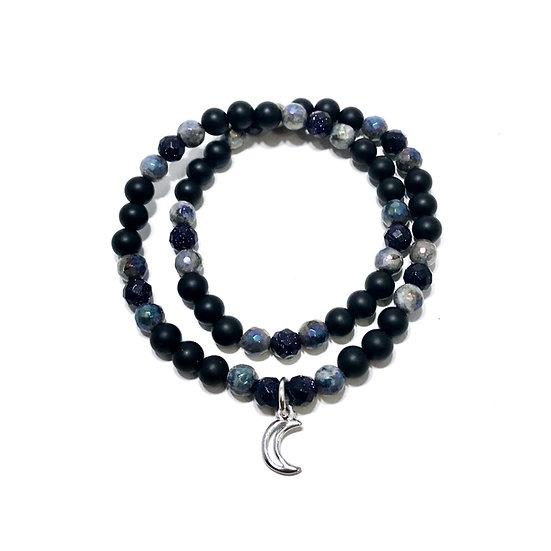 Blue Goldstone, Mystic Norwegian Moonstone and Black Onyx with Moon Charm