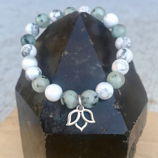 Howlite and Kiwi Jasper Bracelet with Lotus Charm