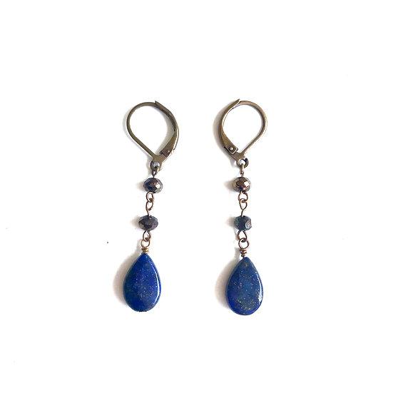 Lapis Lazuli and Mystic Pyrite Earrings
