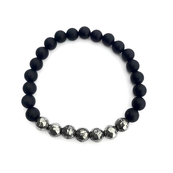 Men's Faceted Pyrite and Matte Black Onyx Bracelet