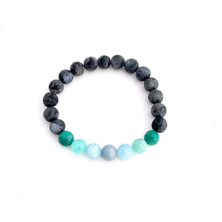 Angelite, Aquamarine, Amazonite and Norwegian Moonstone Bracelet