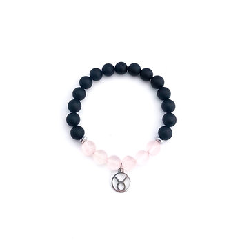 Taurus Bracelet with Rose Quartz, Hematite and Onyx
