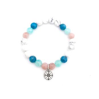 Sunstone, Amazonite, Apatite and Howlite Bracelet with Compass Charm