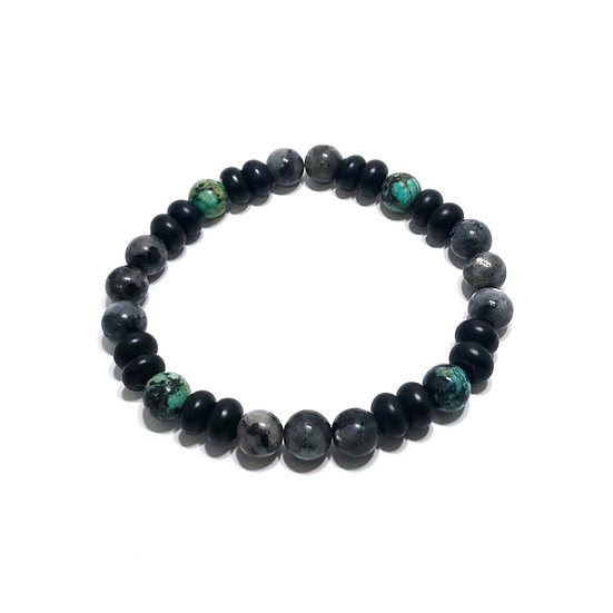 African Turquoise, Norwegian Moonstone and Onyx Bracelet