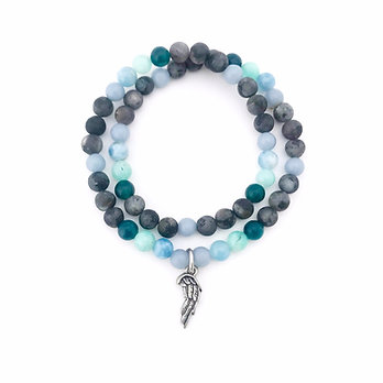 Angelite, Aquamarine, Amazonite, Apatite and Norwegian Moonstone Bracelet
