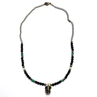 Abundance Necklace with Citrine, Green Aventurine, Pyrite, Onyx and Ganesha