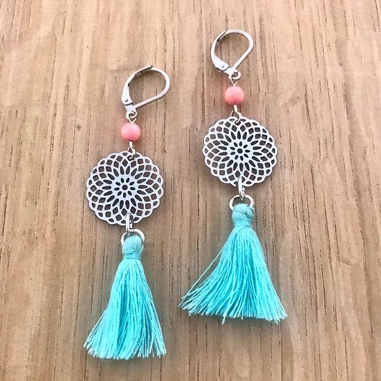 Pink Coral Mandala and Tassel Dangle Earrings