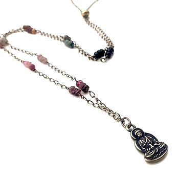 Watermelon Tourmaline Wire Wrapped Necklace with Buddha Pendant