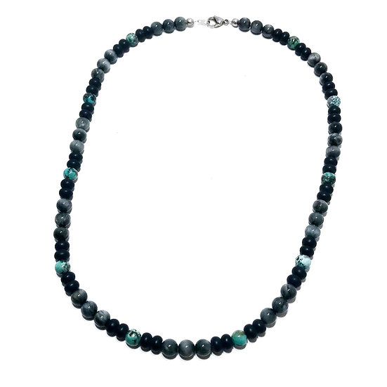Eagle Eye, African Turquoise and Onyx Necklace
