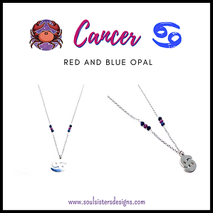 Cancer Zodiac Necklace with Blue and Red Opal