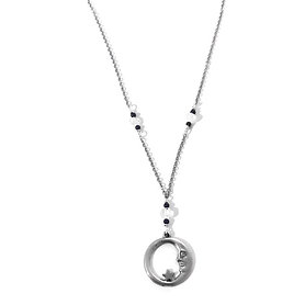 Rainbow Moonstone and Blue Goldstone Necklace with Pewter Moon Pendant