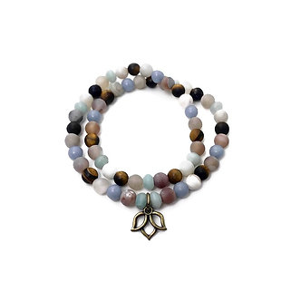 Druzy Agate, Amazonite, Angelite and Tigers Eye Double Wrap Bracelet with Lotus