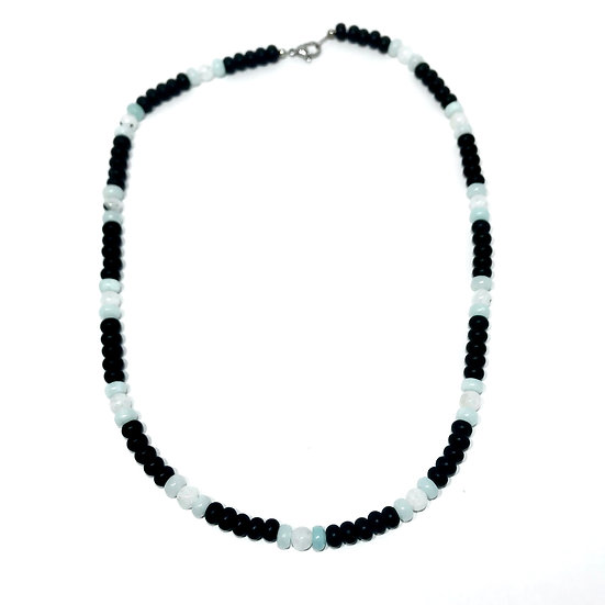 Amazonite, Rainbow Moonstone and Black Onyx Men's Necklace
