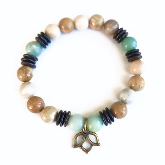 Amazonite, Agatized Coral and Coconut Shell Bracelet with Lotus Charm