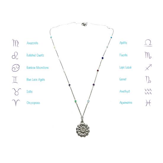 Zodiac Necklace with Handmade Gemstone Chain