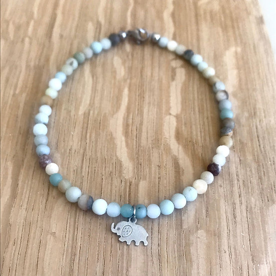 Matte Amazonite Anklet with Elephant Charm