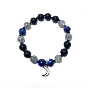Sodalite, Labradorite, Onyx and Black Spinel Bracelet with Moon Charm