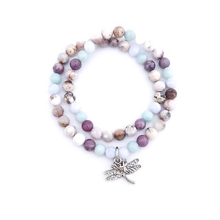 Blue Lace Agate, Amazonite, Lepidolite and Smoky Dendritic Agate with Dragonfly