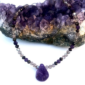 Mystic Pyrite, Amethyst and Labradorite Necklace with Rough Amethyst Pendant