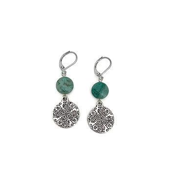 Chrysocolla Mandala Earrings