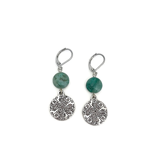 Chrysocolla Mandala Earrings