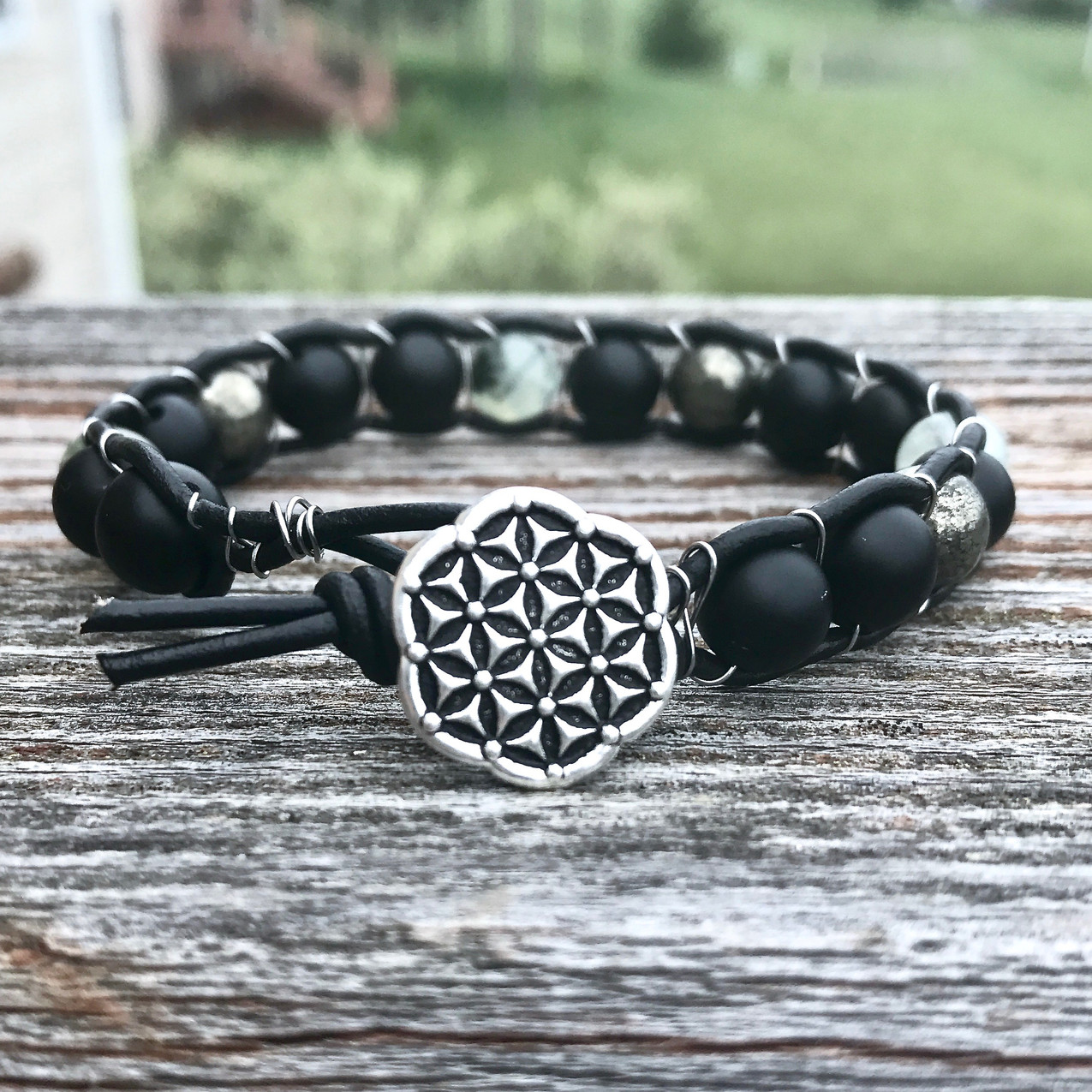 Earth Element Healing Crystal Leather Wrap Bracelet with Onyx, Prehnite and Pyrite