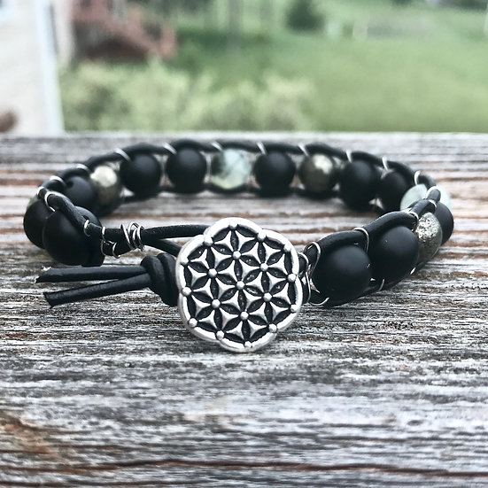 Earth Element Leather Wrap Bracelet with Onyx, Prehnite and Pyrite