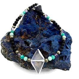 Pyrite, Amazonite, Amethyst and Onyx Beaded Necklace with Diamond Quartz Pendant