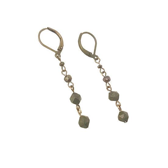 Star-Cut and Mystic Pyrite Earrings