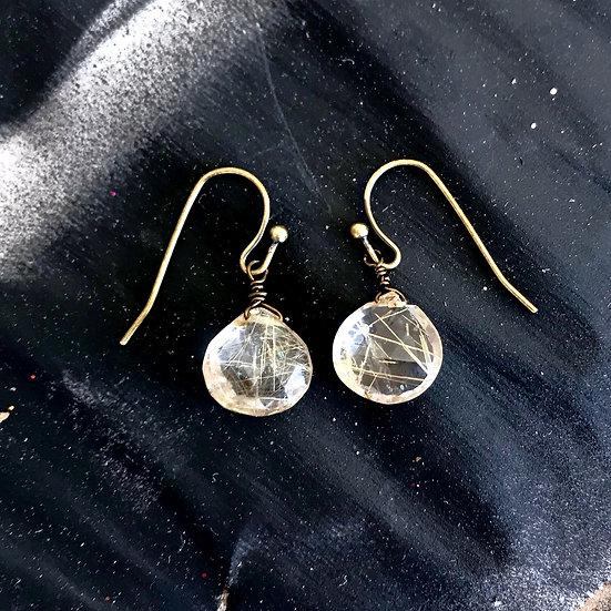 Faceted Rutilated Quartz Drop Earrings