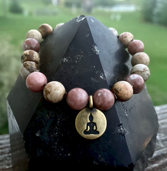 Plum Blossom and Picture Jasper with Hematite and a Buddha Charm