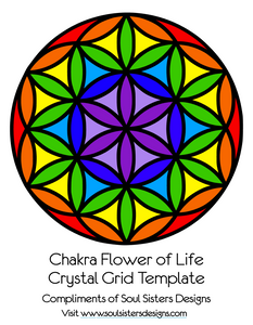 Chakra Flower of Life Crystal Grid Template