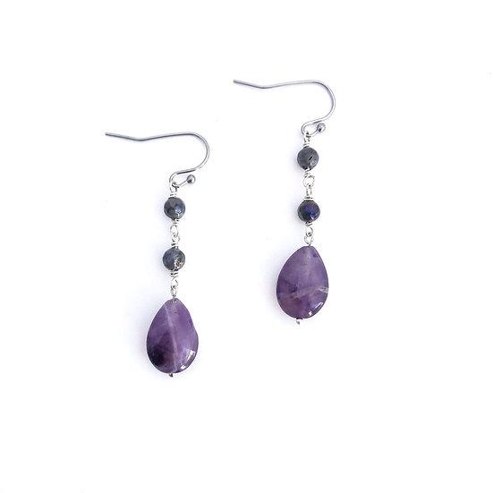 Mystic Norwegian Moonstone and Amethyst Earrings