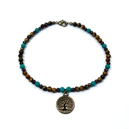 Russian Amazonite, Mystic Pyrite and Tigers Eye Anklet with Tree of Life Charm