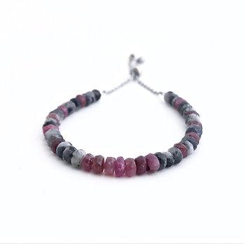 Pink Tourmaline and Norwegian Moonstone Adjustable Mini Gemstone Bracelet