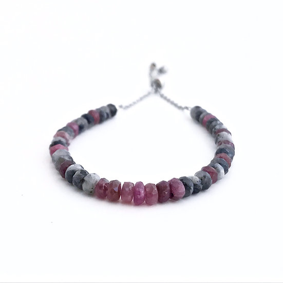 Pink Tourmaline and Norwegian Moonstone Adjustable Mini Gemstone Bracelet