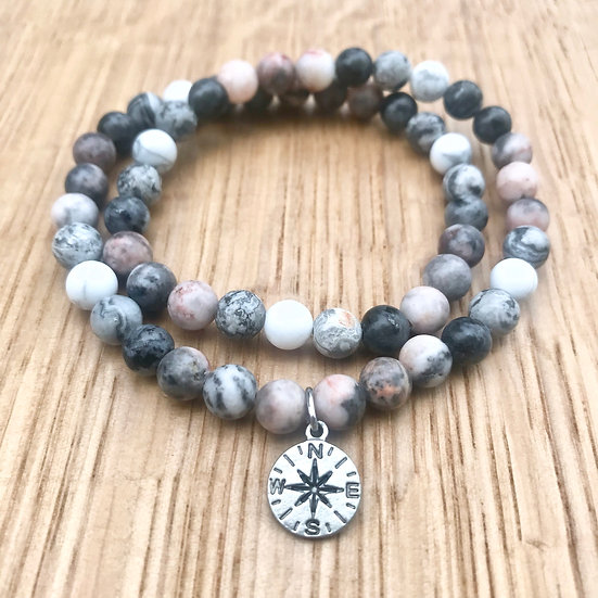 Pink Zebra and Matte Picasso Jasper with Howlite and Compass Charm Double Wrap