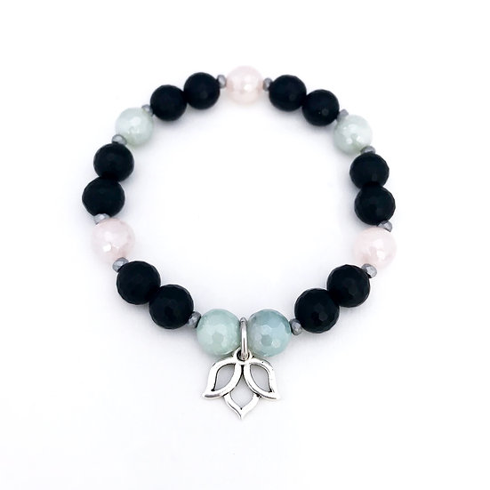 Amazonite, Rose Quartz, Hematite and Onyx Bracelet with Lotus Charm